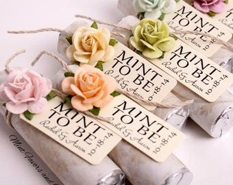 "Wedding favors - Set of 150 mint rolls - ""Mint to be"" favors with personalized tag - ivory, pastel roses, mint to be wedding favors"