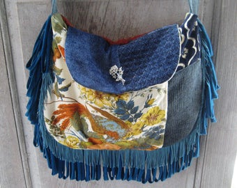 Blue teal crossbody bag, exotic peacock bird purse, fringed gypsy bag, boho purse, bohemian bag, hippie purse, hand made vintage fabric bag
