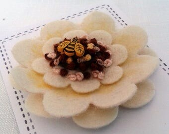 Flower Corsage, Flower Brooch, Textile Brooch, Fabric Brooch, Bumble Bee
