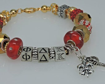 PHI DELTA KAPPA 3 European Style Large Hole Bead Professional Educator Bracelet with Charms and Love Bead