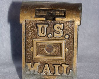 Vintage Cast Brass Bank, U S Mail Box Bank ,Old Penny Bank.Vintage Cast Iron Bank.Collectible Banks. Old Coin Bank. Mail Box Bank