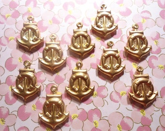10 Brass Coast Guard Anchor with Life Preserver Puffy Charms Pendants