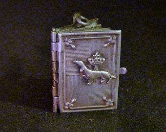 Antique french Book  Locket Souvenir castles of Loire Ermine  Stoat Collectible old Pendant Charm 6/Mi