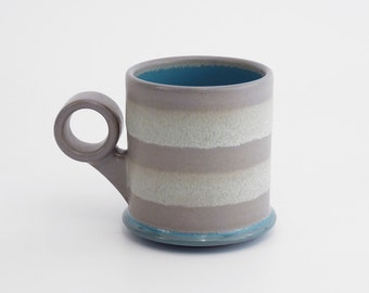 """Small 8oz. grey and blue coffee mug with ergonomic """"ring"""" handle. Great gift. stoneware pottery. ceramics."""