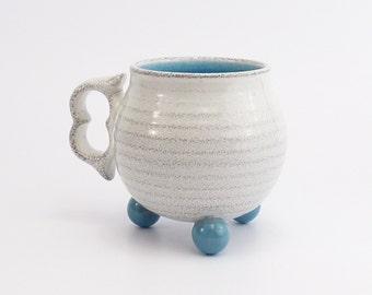 "Stoneware tripod mug. Blue and white ""ball footed"" striped coffee mug. Wheel thrown pottery mug. ceramics. Tea cup"
