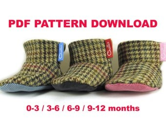 Baby Bootie Pattern, Fabric Booties Pattern, Booties Sewing Pattern, PDF download, Fleece Lined Booties, Lined Baby Boots, Sewn Baby Gift