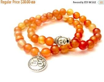 SALE Carnelian Bracelet Set. Buddha Bracelet. Om Bracelet. Gemstone Bracelet. Buddhist Bracelets. Beaded Bracelet. Buddha Jewelry. Yoga Gift