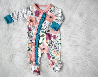 Baby Girl Coming Home Outfit,Organic Floral Outfit, Organic Newborn Take Home, Floral Romper, Newborn Boho Floral Outfit, Baby Girl Shower