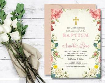 Christening Invitation \ Baptism Invitation \ Girl Invitation \ Printable Invitation \ Vintage (CR37)