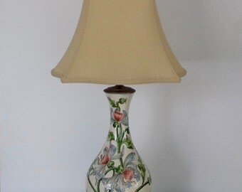 Exceptional Porcelain Hand Painted Antique Vase Converted to Table Lamp - Pink Blue Green - Mahogany Wood Base - Lily Wild Flower - Elegant
