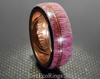 Purple heart wood wedding rings handmade wooden engagement rings