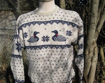 SALE Vintage Northern Reflections, Wool Cotton oatmeal, Blue Goose, snow flake, winter sweater Size XL Chest 46''