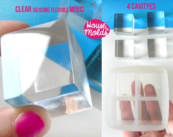 4 cavityes Multi Cubes Clear Mold - 3 cm x 2,7 cm Resin Cubes-HOUSE OF MOLDS-transparent mold super glossy results!