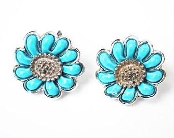 Blue flower Earrings - Signed Coro - Thermaset -Silver metal - Clip on earring