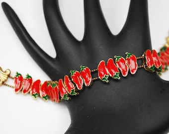 RedChili Pepper Slider Bracelet - Red Green Enameling - Charm - link bangle