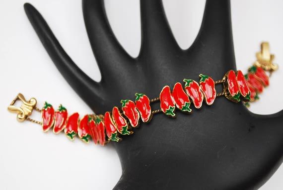 RedChili Pepper Slider Bracelet - Red Green Enameling - Charm - link bangle
