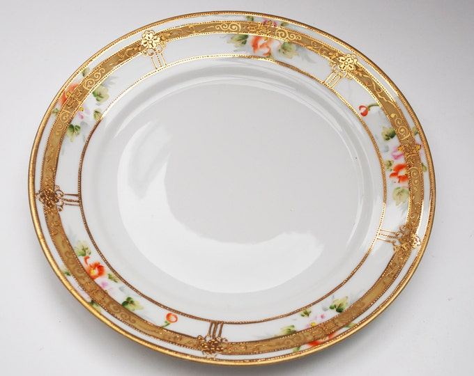 Nippon plate - painted floral and gold - bread salad dish - Signed Hand Pinted Nippon