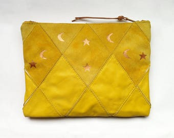 FREE SHIPPING // Patchwork Zip Clutch // one of a kind // yellow suede and yellow leather with copper print