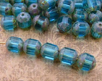 Transparent Aqua Blue & Picasso Cathedral Czech Glass Beads Barrel Bead 8x7mm - 10