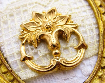 Art Nouveau Flourish and Floral Raw Brass Flower Stamping Connector Pendant Findings - 1