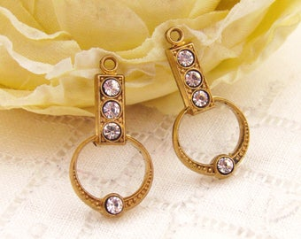 Art Deco and Swarovski Clear Crystal Rhinestone Earring Drops Dangles Findings Brass or Antique Silver 21mm Long - 2
