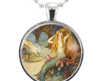 Mermaid Necklace, Mermaid Charm With Chain, Silver Plate (0348S25MMBC)