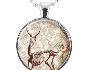 Deer Skeleton Necklace, Goth Style Halloween Jewelry (0785S25MMBC)