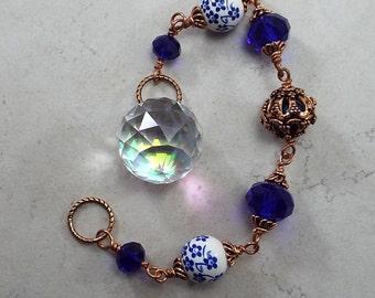 Suncatcher Aurora Borealis Crystal Prism Hand Forged Copper Chain Mirror hanger Sun Catcher Light Catcher