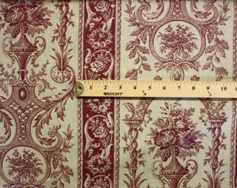Red And White Pattern Linen Fabric Per Yard