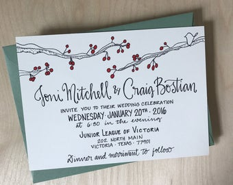 Winter Wedding Invitation / Christmas Wedding Invitations / Snow Berries Wedding Invitation / Red Wedding Invitation
