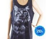 Cat shirt animal top tumblr tshirt kitten shirt gift tshirt quote shirt graphic tee women shirt bleach black shirt unisex tank top size M