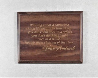 Vince Lombardi  Gift for Dad Father Gift  Lombardi on Winning Quote  Green Bay Packers NFL WALNUT PLAQUE  7X9 overall