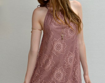 Magnolia Halter Dress in Mauve