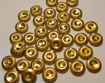 Group of 35 Small Gold Metal Buttons-( 1/2 inch)-Item#286