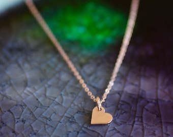Rose Gold Jewelry - Heart Charm Necklace - Heart Initial Charm - Rose Gold Heart Charm - Mini Heart Initial - Gold Heart Charm  - Mini Heart