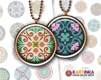 1.5 inch, 1 inch (25mm) Printable TRADITIONAL ORNAMENTS Download Digital Images for Bottle caps Round pendants Bezel trays Cabochons Jewelry