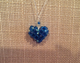 Blue Swarovski crystal heart on sterling silver chain