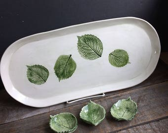 Sushi tray with 3 dipping bowls, large hydrangea leaf Serving Tray, ceramic leaf bowls and tray, cheese tray handmade New England pottery