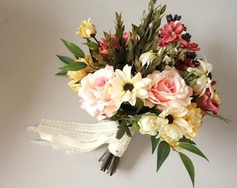 Faux Bridal Bouquet, Summer Wedding Bouquet, Silk Flower Bouquet, Pink Bouquet,  Fall Wedding Bouquet, Boho Wedding,