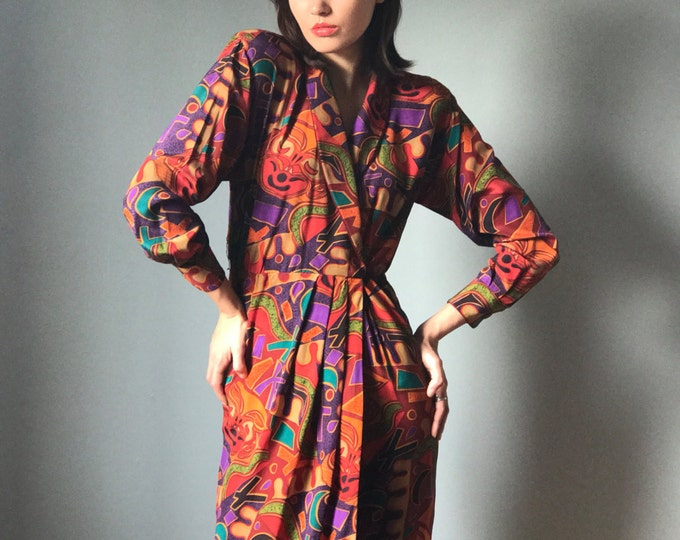 Vintage 90s Abstract Print V Neck Silk Dress