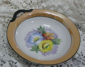 1918s Noritake Lusterware round bowl with black handle  Green M hallmark made in Japan, Blue and Yellow flowers,