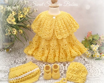 Baby Girl's Spring and Summer Dress with Ruffled Bloomers, Bonnet, and Shrug  - Newborn to 18 months