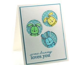 Bunny rabbits, cute love you card, blue and yellow stuffed bunnies, peek a boo fun children cards, miss you