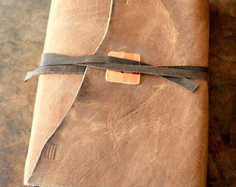 Large Distressed Leather Bible Cover Custom Made to Order Copper Ordination Baptism Confirmation Gift (389S)