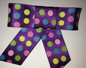 Ribbon Hair Bow - Polka Dot Hair Bow - Child's Hair Bow - Purple Polka Dots