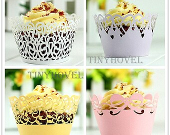Lace cupcake liner, laser cut cupcake wrapper - Cake Deco, Party Decoration, Packaging