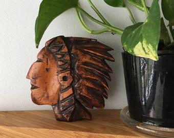 Vintage Carved Wood Indian Chief