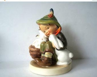 """ON SALE Vintage MI Hummel Figurine """"Playmates"""" Boy with 3 Rabbits Tmk-2 2nd Full Bee"""