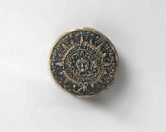 Vintage Mayan Calendar Brooch Pin Pendant 925 Sterling Silver