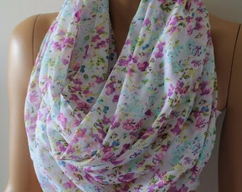 Christmas Gift Holiday Gift Scarf, New Chiffon Scarf Floral Infinity Scarf Gift for Her